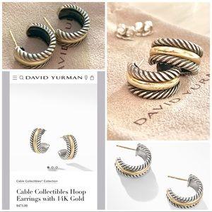 VINTAGE David Yurman Cable Hoop earrings 14k gold